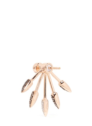 Detail View - Click To Enlarge - Pamela Love - Ombré 5 Spike' diamond 18k rose gold fan earrings