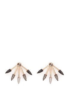 Pamela Love Ombré 5 Spike' diamond 18k rose gold fan earrings