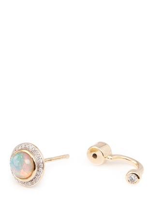Detail View - Click To Enlarge - Pamela Love - 'Gravitation' diamond pavé opal stud earrings