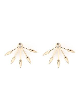 Main View - Click To Enlarge - Pamela Love - 5 Spike' diamond 18k yellow gold fan earrings