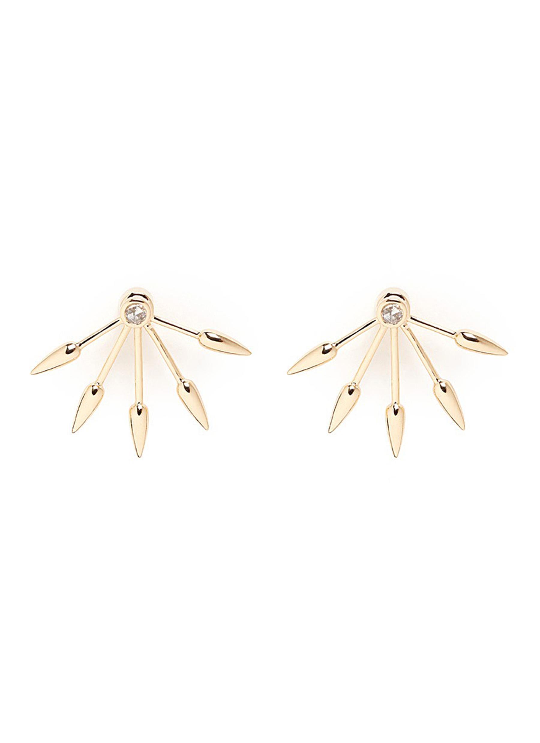 5 Spike diamond 18k yellow gold fan earrings by Pamela Love