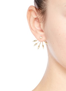 Pamela Love 5 Spike' diamond 18k yellow gold fan earrings
