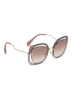 miu miu 'Sćenique' cutout mirror square sunglasses