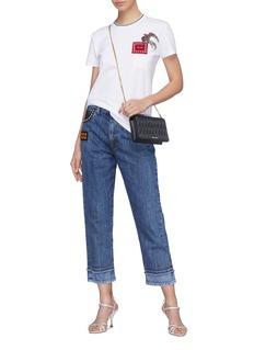 miu miu Embellished pocket denim culottes