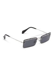 miu miu 'Société' glitter beaded trim metal square rimless sunglasses