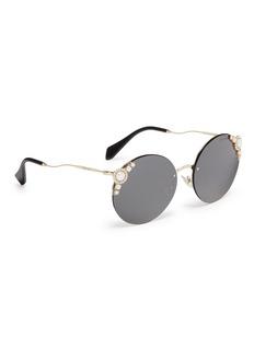 miu miu Swarovski crystal faux pearl drop clip earrings