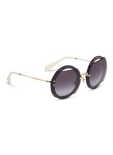 miu miu 'Reveal' metal temple cutout glitter acetate round sunglasses
