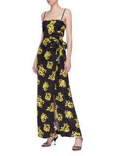 miu miu Rose print belted silk dress