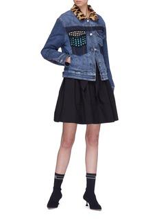 miu miu Belted button outseam flared skirt