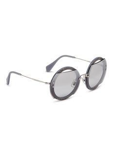 miu miu 'Reveal' metal temple mirror cutout glitter acetate round sunglasses
