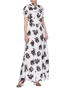 miu miu Rose print pussybow silk dress