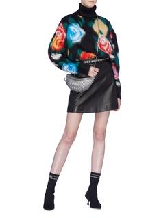 miu miu Floral intarsia mohair blend turtleneck sweater
