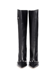 FAUSTO PUGLISI Metal stud leather knee high boots