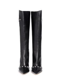FAUSTO PUGLISIMetal stud leather knee high boots