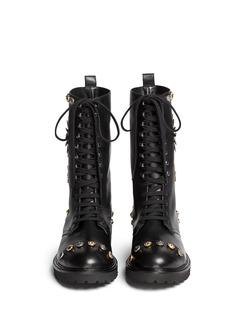 FAUSTO PUGLISIMetal stud leather lace-up combat boots