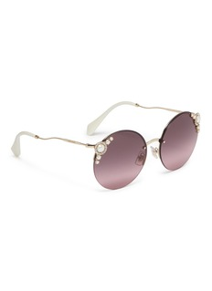 miu miu 'Manière' embellished rimless metal round sunglasses