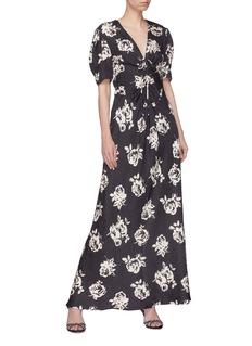 miu miu Rose print silk dress