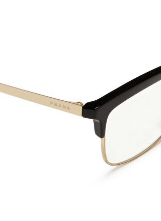 Detail View - Click To Enlarge - Prada - Acetate rim metal optical glasses