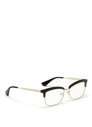 Figure View - Click To Enlarge - Prada - Acetate rim metal optical glasses