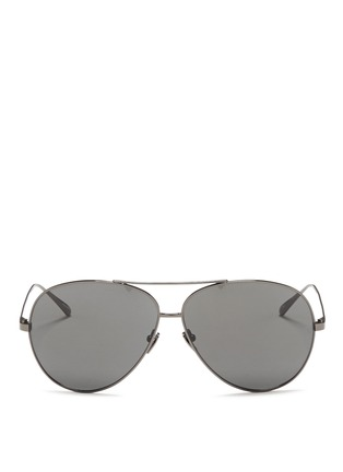 Main View - Click To Enlarge - Linda Farrow - Titanium oversized aviator sunglasses