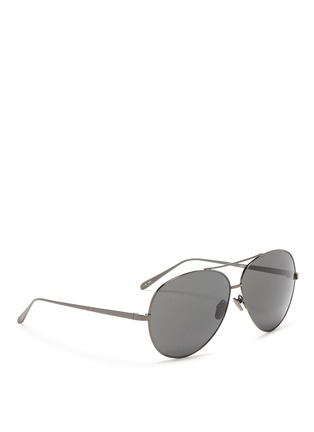Figure View - Click To Enlarge - Linda Farrow - Titanium oversized aviator sunglasses