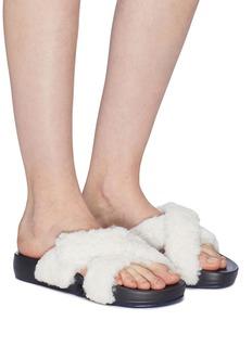 Figs By Figueroa 'Figomatic' cross strap lamb shearling slide sandals