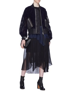 Sacai Patchwork lace bomber jacket