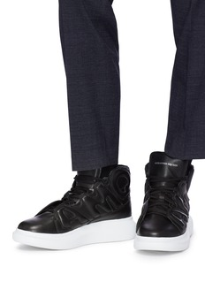 Alexander McQueen Oversized outsole logo panel leather high top sneakers