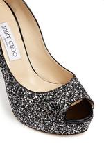 'Dahlia' gradient heel glitter peep toe pumps