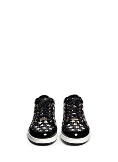 JIMMY CHOO'Miami' star perforated patent leather sneakers