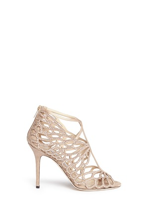 Main View - Click To Enlarge - Jimmy Choo - 'Fyonn' crystal hot fix caged suede sandals