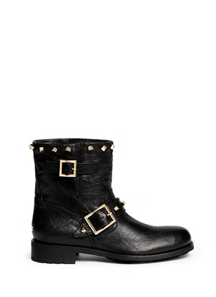 Main View - Click To Enlarge - Jimmy Choo - 'Youth' cube stud leather biker ankle boots