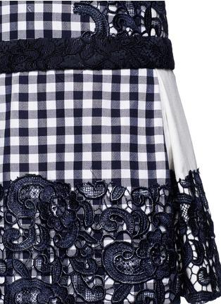 Detail View - Click To Enlarge - MSGM - Lace appliqué gingham box pleat dress