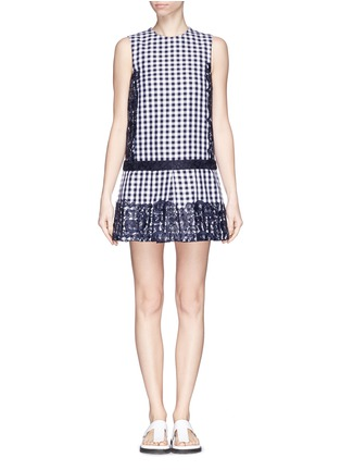 Main View - Click To Enlarge - MSGM - Lace appliqué gingham box pleat dress