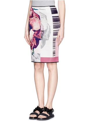 Front View - Click To Enlarge - MO&CO. EDITION 10 - Floral patchwork print pencil skirt