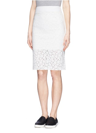 Front View - Click To Enlarge - MO&CO. EDITION 10 - Floral cutout pencil skirt
