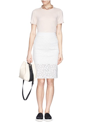 Figure View - Click To Enlarge - MO&CO. EDITION 10 - Floral cutout pencil skirt