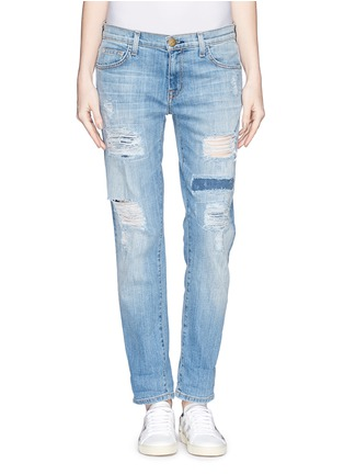 Detail View - Click To Enlarge - Current/Elliott - 'The Fling' ripped patchwork slim boyfriend jeans