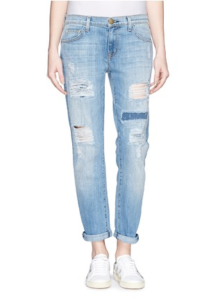 Main View - Click To Enlarge - Current/Elliott - 'The Fling' ripped patchwork slim boyfriend jeans