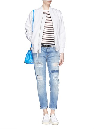 Figure View - Click To Enlarge - Current/Elliott - 'The Fling' ripped patchwork slim boyfriend jeans