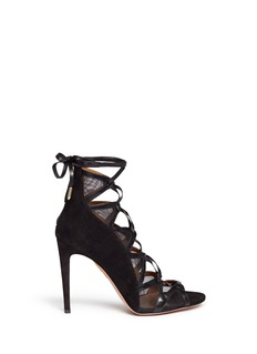 AQUAZZURA'French Lover' mesh suede lace-up sandals