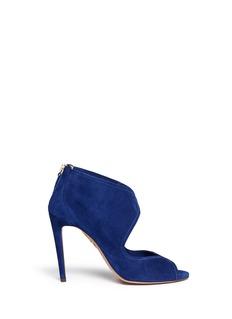 AQUAZZURA'Bianca' cutout suede sandal booties