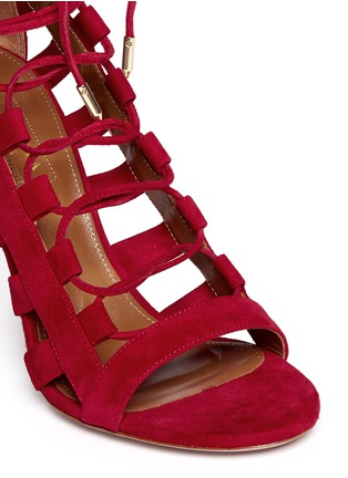 Detail View - Click To Enlarge - Aquazzura - 'Amazon' suede caged sandals