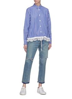 Sacai Drawstring lace hem stripe shirt