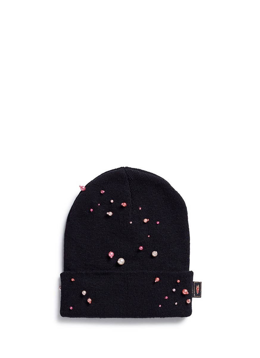 Faux pearl embellished beanie by Piers Atkinson
