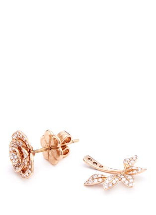 Detail View - Click To Enlarge - Anyallerie - 'Mini Rose' diamond 18k rose gold jacket earrings