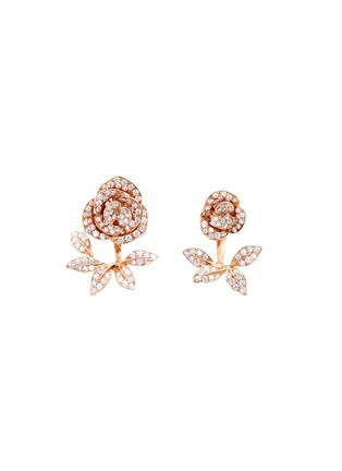 Main View - Click To Enlarge - Anyallerie - 'Mini Rose' diamond 18k rose gold jacket earrings
