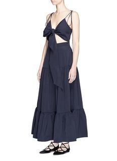 Xiao LiCutout tie front tiered maxi dress