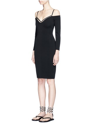 Front View - Click To Enlarge - T By Alexander Wang - Cold shoulder long sleeve dress