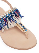 'Sapphire' embellished fringe leather thong sandals